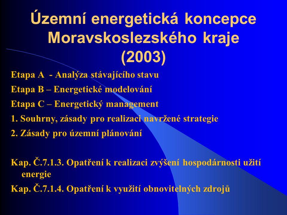 Územní energetická koncepce Moravskoslezského kraje (2003) Etapa A - Analýza stávajícího stavu Etapa B – Energetické modelování Etapa C – Energetický