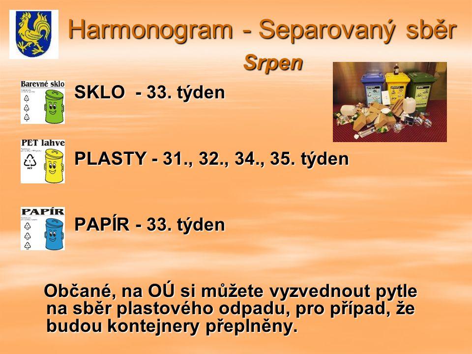 Harmonogram - Separovaný sběr Srpen Harmonogram - Separovaný sběr Srpen SKLO - 33.