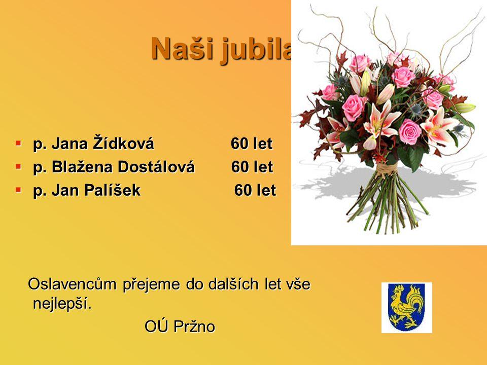 Naši jubilanti  p. Jana Žídková 60 let  p. Blažena Dostálová 60 let  p.