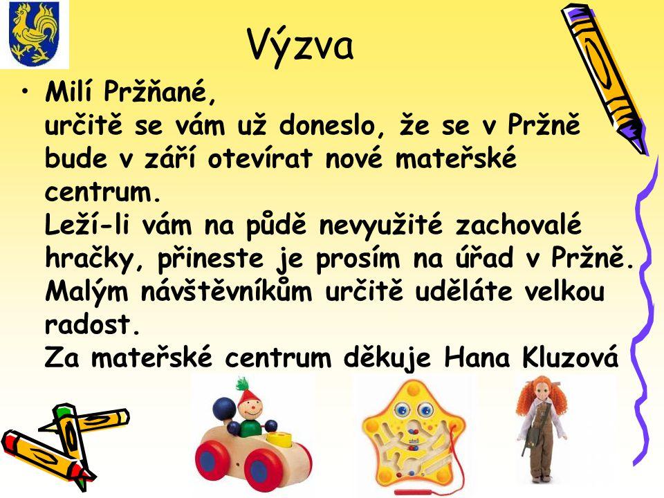 Výzva Milí Pržňané, určitě se vám už doneslo, že se v Pržně bude v září otevírat nové mateřské centrum.