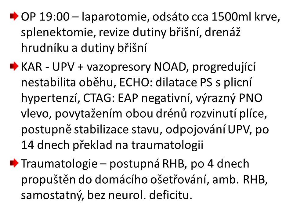 OP 19:00 – laparotomie, odsáto cca 1500ml krve, splenektomie, revize dutiny břišní, drenáž hrudníku a dutiny břišní KAR - UPV + vazopresory NOAD, prog