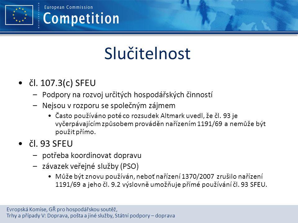 Evropská Komise, GŘ pro hospodářskou soutěž, Trhy a případy V: Doprava, pošta a jiné služby, Státní podpory – doprava Slučitelnost čl. 107.3(c) SFEU –