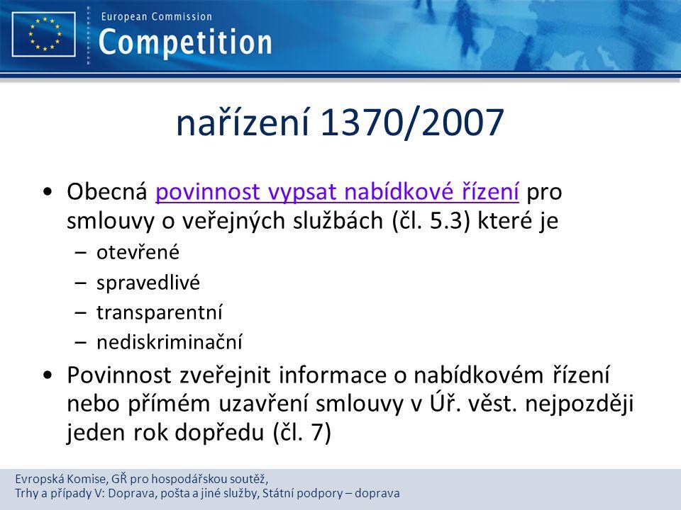 Evropská Komise, GŘ pro hospodářskou soutěž, Trhy a případy V: Doprava, pošta a jiné služby, Státní podpory – doprava nařízení 1370/2007 Obecná povinn