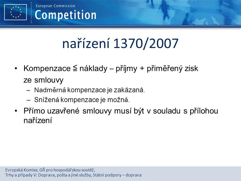 Evropská Komise, GŘ pro hospodářskou soutěž, Trhy a případy V: Doprava, pošta a jiné služby, Státní podpory – doprava nařízení 1370/2007 Kompenzace ≦