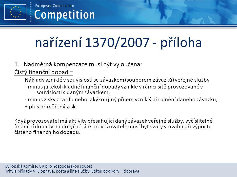 Evropská Komise, GŘ pro hospodářskou soutěž, Trhy a případy V: Doprava, pošta a jiné služby, Státní podpory – doprava nařízení 1370/2007 - příloha 1.