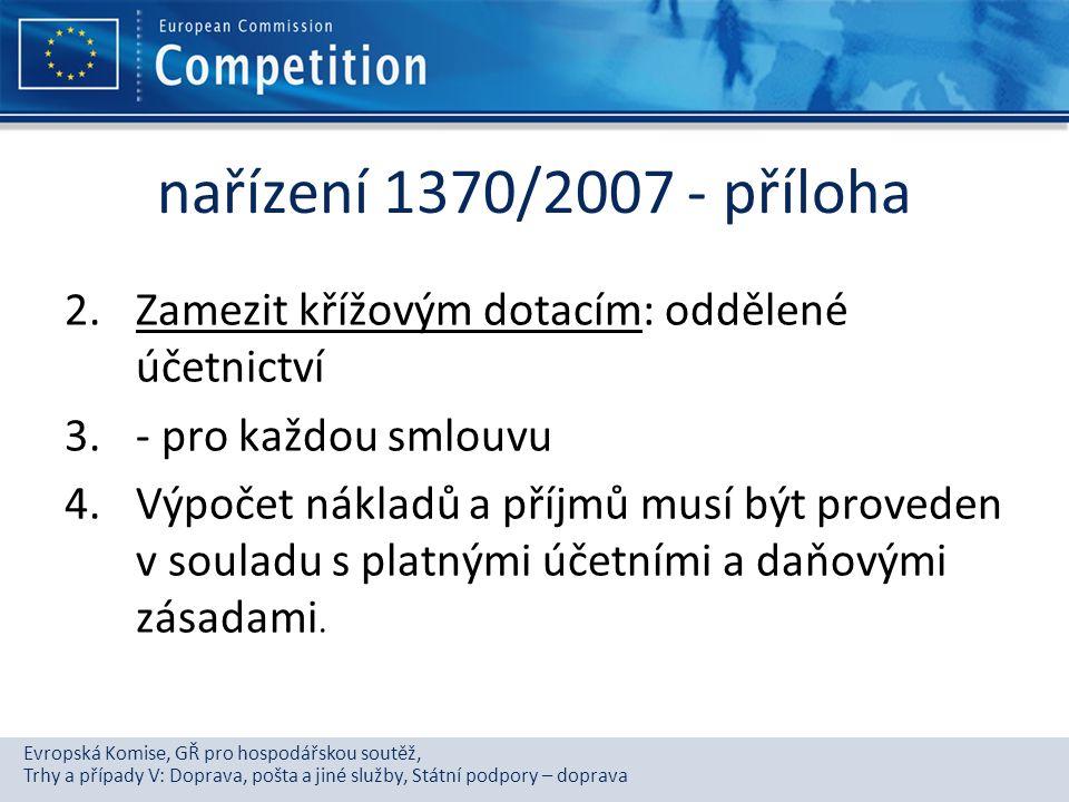 Evropská Komise, GŘ pro hospodářskou soutěž, Trhy a případy V: Doprava, pošta a jiné služby, Státní podpory – doprava nařízení 1370/2007 - příloha 2.Z