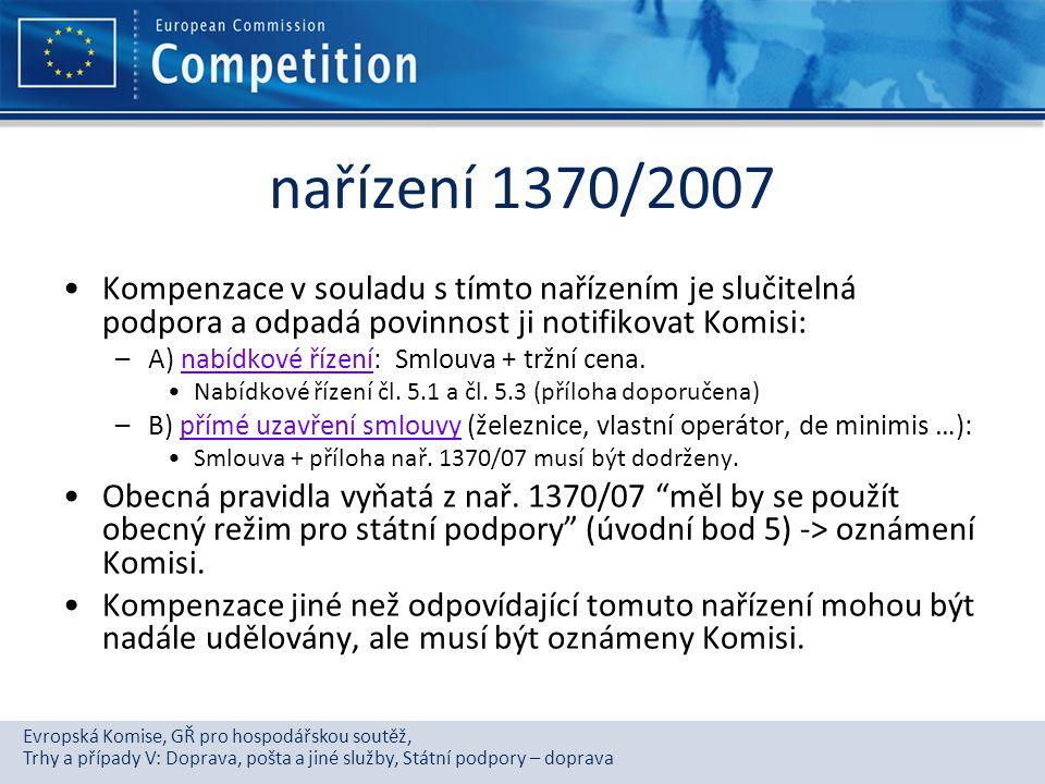 Evropská Komise, GŘ pro hospodářskou soutěž, Trhy a případy V: Doprava, pošta a jiné služby, Státní podpory – doprava nařízení 1370/2007 Kompenzace v