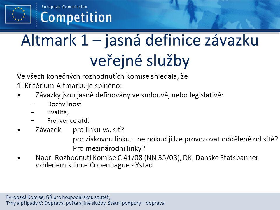 Evropská Komise, GŘ pro hospodářskou soutěž, Trhy a případy V: Doprava, pošta a jiné služby, Státní podpory – doprava Altmark 1 – jasná definice závaz