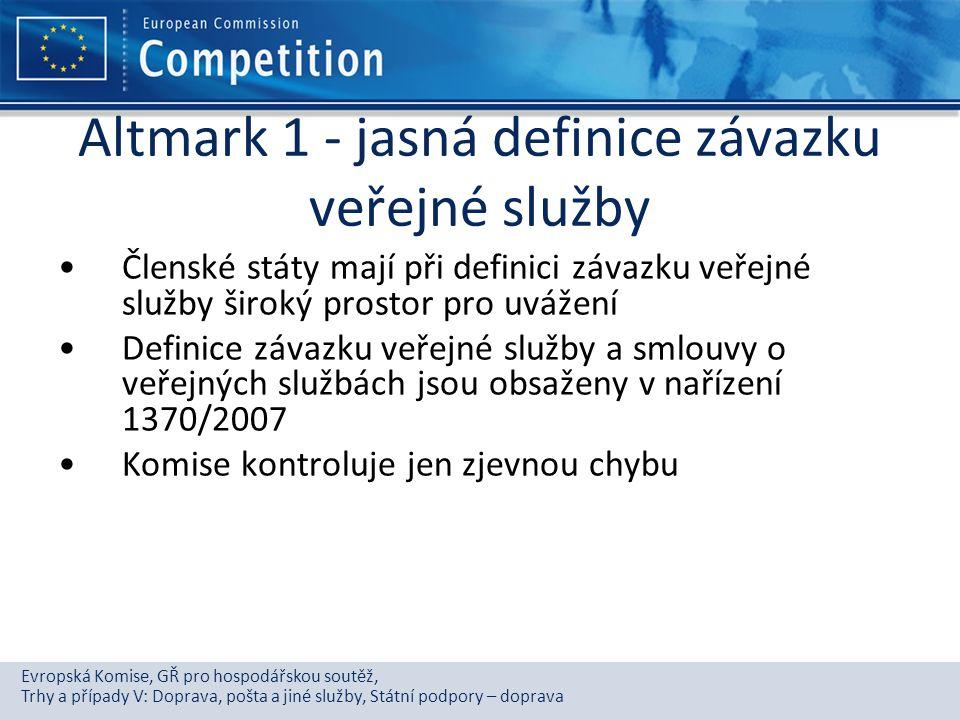 Evropská Komise, GŘ pro hospodářskou soutěž, Trhy a případy V: Doprava, pošta a jiné služby, Státní podpory – doprava Altmark 1 - jasná definice závaz