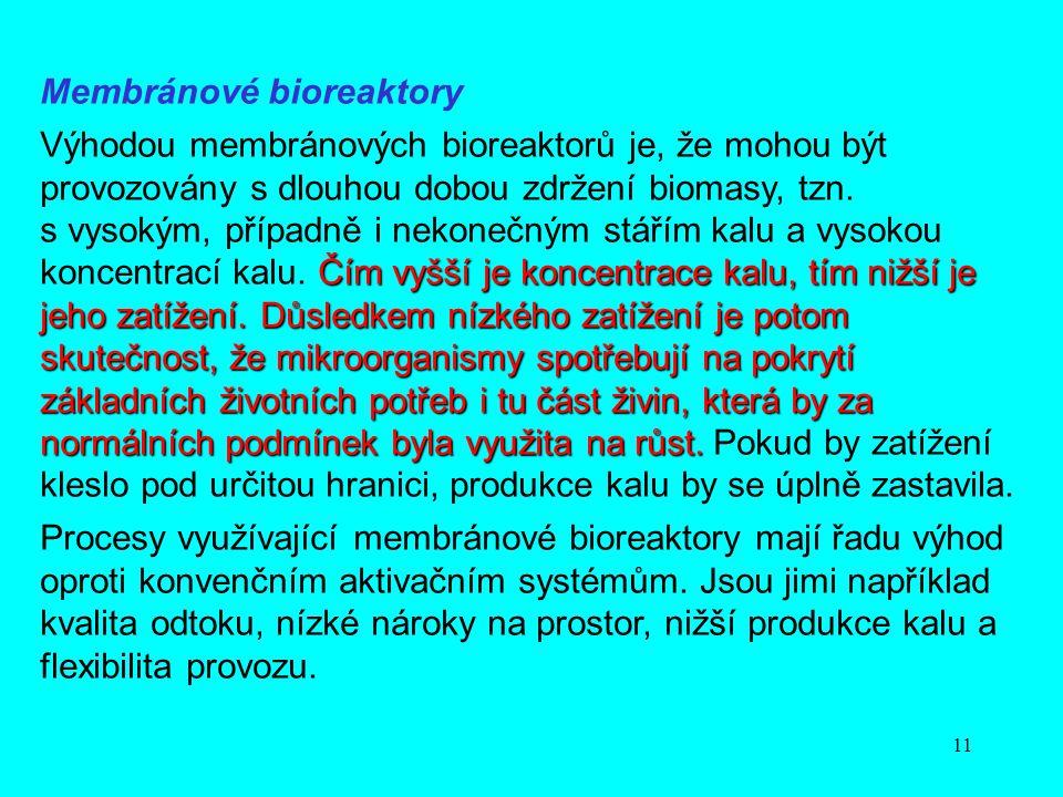 11 Membránové bioreaktory Čím vyšší je koncentrace kalu, tím nižší je jeho zatížení. Důsledkem nízkého zatížení je potom skutečnost, že mikroorganismy