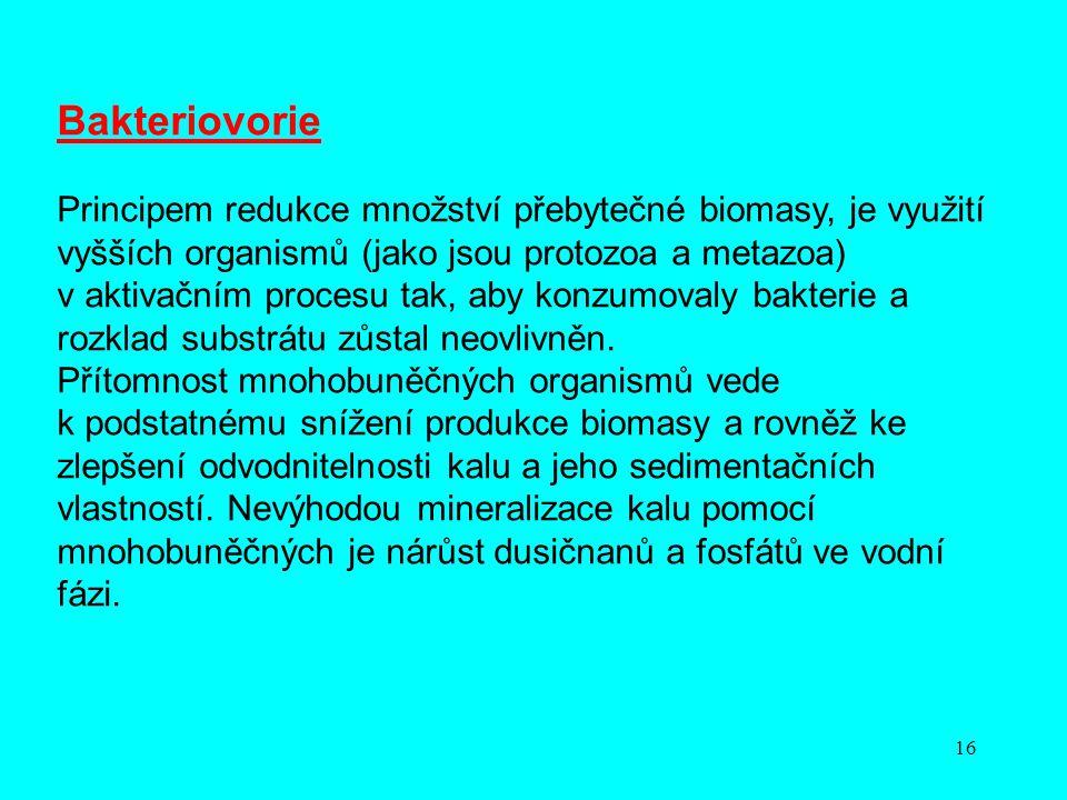 16 Bakteriovorie Principem redukce množství přebytečné biomasy, je využití vyšších organismů (jako jsou protozoa a metazoa) v aktivačním procesu tak,