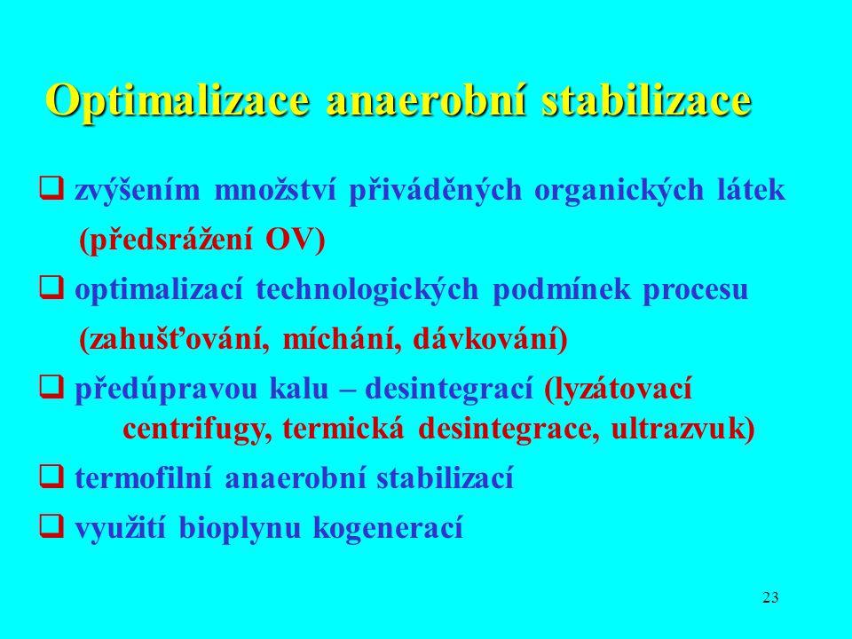23 Optimalizace anaerobní stabilizace  zvýšením množství přiváděných organických látek (předsrážení OV)  optimalizací technologických podmínek proce