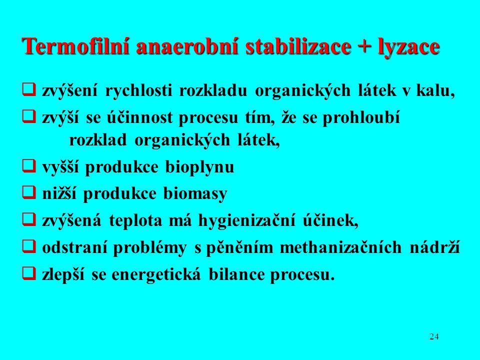 24 Termofilní anaerobní stabilizace + lyzace  zvýšení rychlosti rozkladu organických látek v kalu,  zvýší se účinnost procesu tím, že se prohloubí r