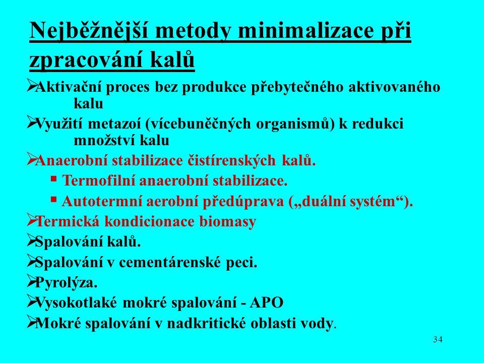 34 Nejběžnější metody minimalizace při zpracování kalů  Aktivační proces bez produkce přebytečného aktivovaného kalu  Využití metazoí (vícebuněčných