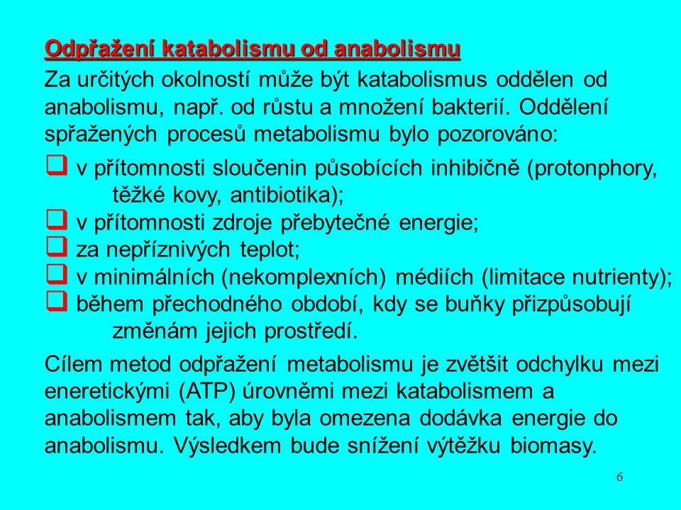 6 Odpřažení katabolismu od anabolismu Za určitých okolností může být katabolismus oddělen od anabolismu, např. od růstu a množení bakterií. Oddělení s