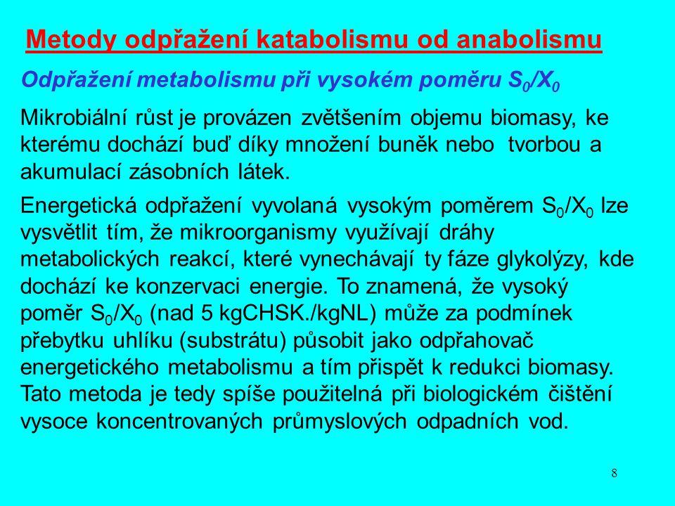 8 Odpřažení metabolismu při vysokém poměru S 0 /X 0 Mikrobiální růst je provázen zvětšením objemu biomasy, ke kterému dochází buď díky množení buněk n
