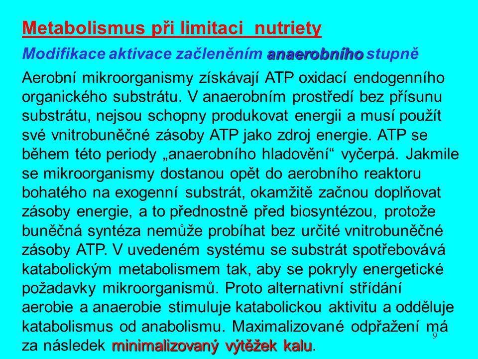 9 Metabolismus při limitaci nutriety anaerobního Modifikace aktivace začleněním anaerobního stupně minimalizovaný výtěžek kalu Aerobní mikroorganismy