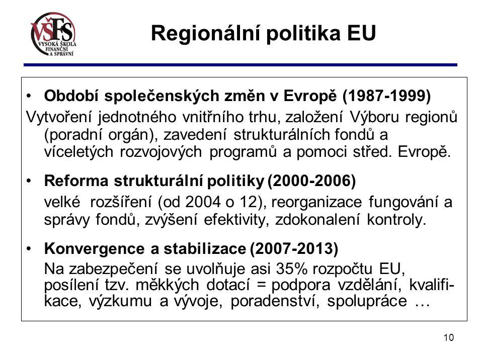 10 Regionální politika EU Období společenských změn v Evropě (1987-1999) Vytvoření jednotného vnitřního trhu, založení Výboru regionů (poradní orgán),