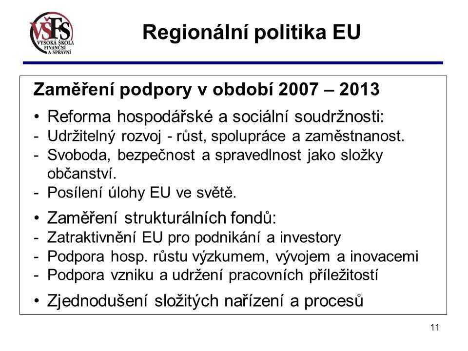 11 Zaměření podpory v období 2007 – 2013 Reforma hospodářské a sociální soudržnosti: - Udržitelný rozvoj - růst, spolupráce a zaměstnanost. - Svoboda,