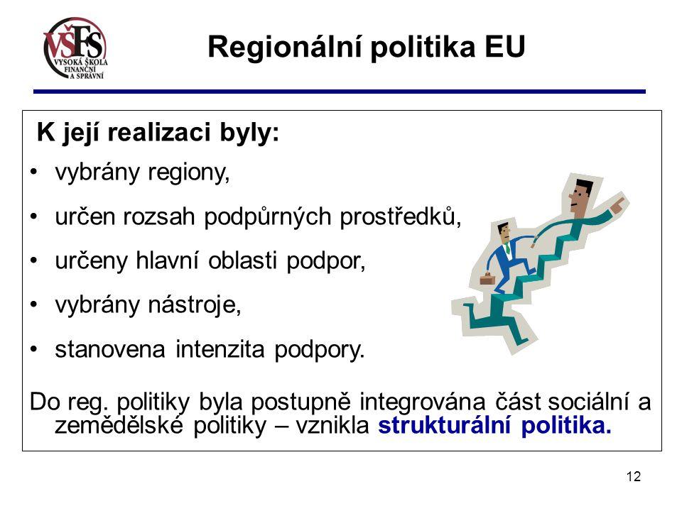12 K její realizaci byly: vybrány regiony, určen rozsah podpůrných prostředků, určeny hlavní oblasti podpor, vybrány nástroje, stanovena intenzita pod