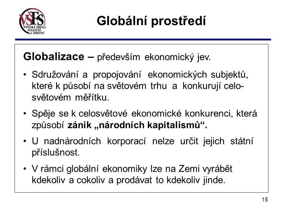 15 Globální prostředí Globalizace – především ekonomický jev. Sdružování a propojování ekonomických subjektů, které k působí na světovém trhu a konkur