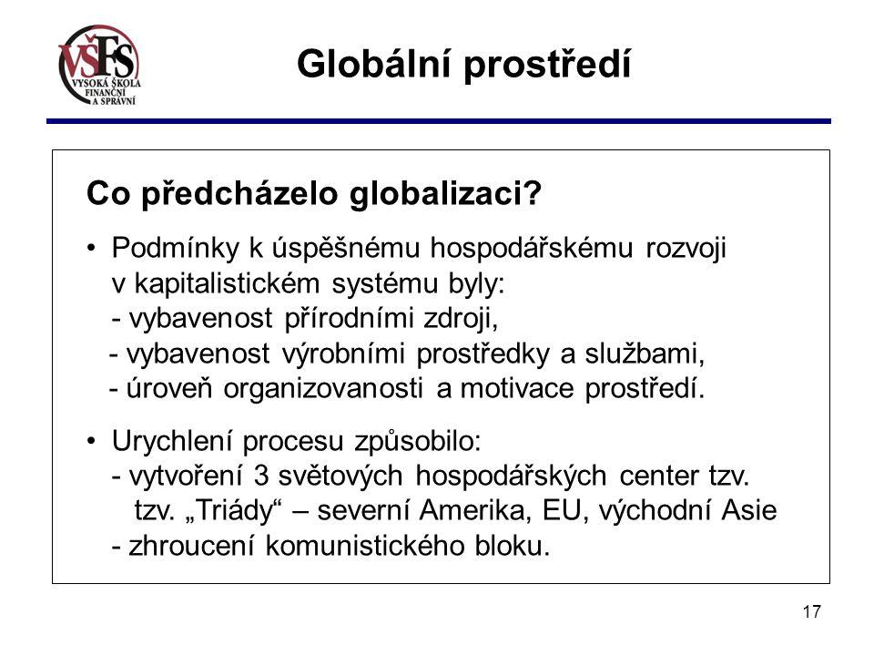 17 Globální prostředí Co předcházelo globalizaci? Podmínky k úspěšnému hospodářskému rozvoji v kapitalistickém systému byly: - vybavenost přírodními z