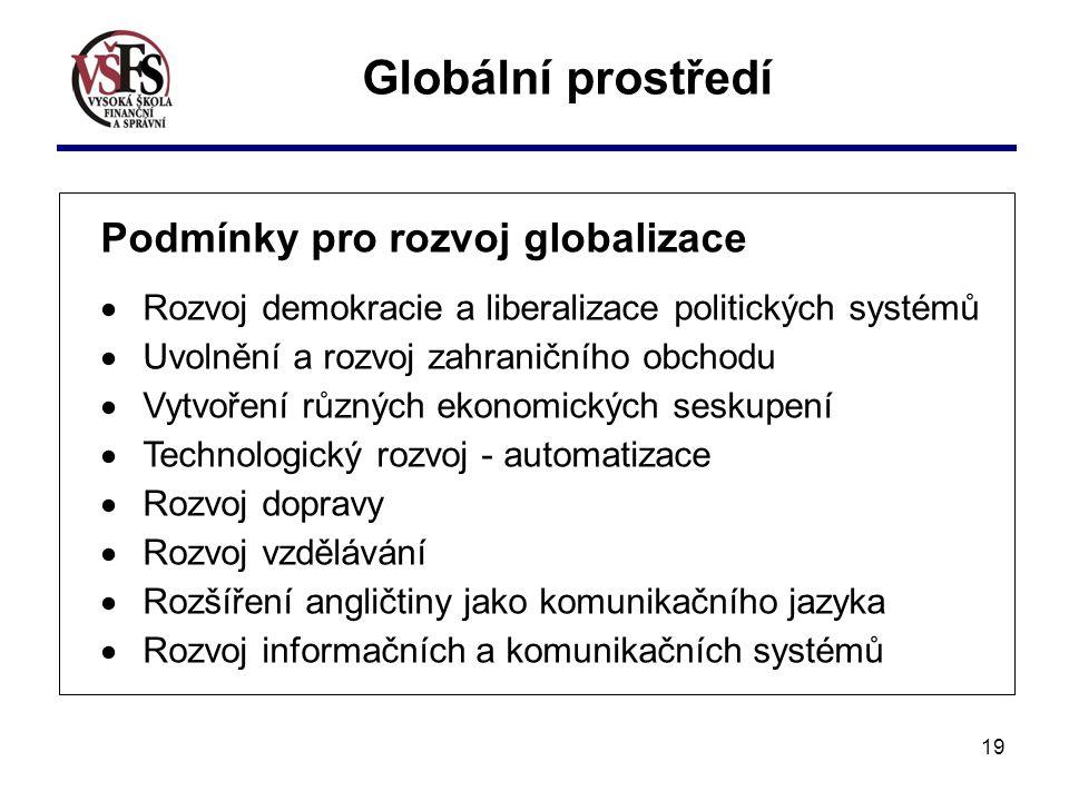 19 Globální prostředí Podmínky pro rozvoj globalizace  Rozvoj demokracie a liberalizace politických systémů  Uvolnění a rozvoj zahraničního obchodu