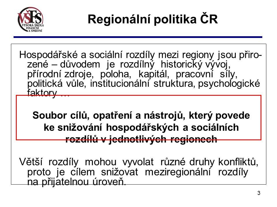3 Regionální politika ČR Hospodářské a sociální rozdíly mezi regiony jsou přiro- zené – důvodem je rozdílný historický vývoj, přírodní zdroje, poloha,