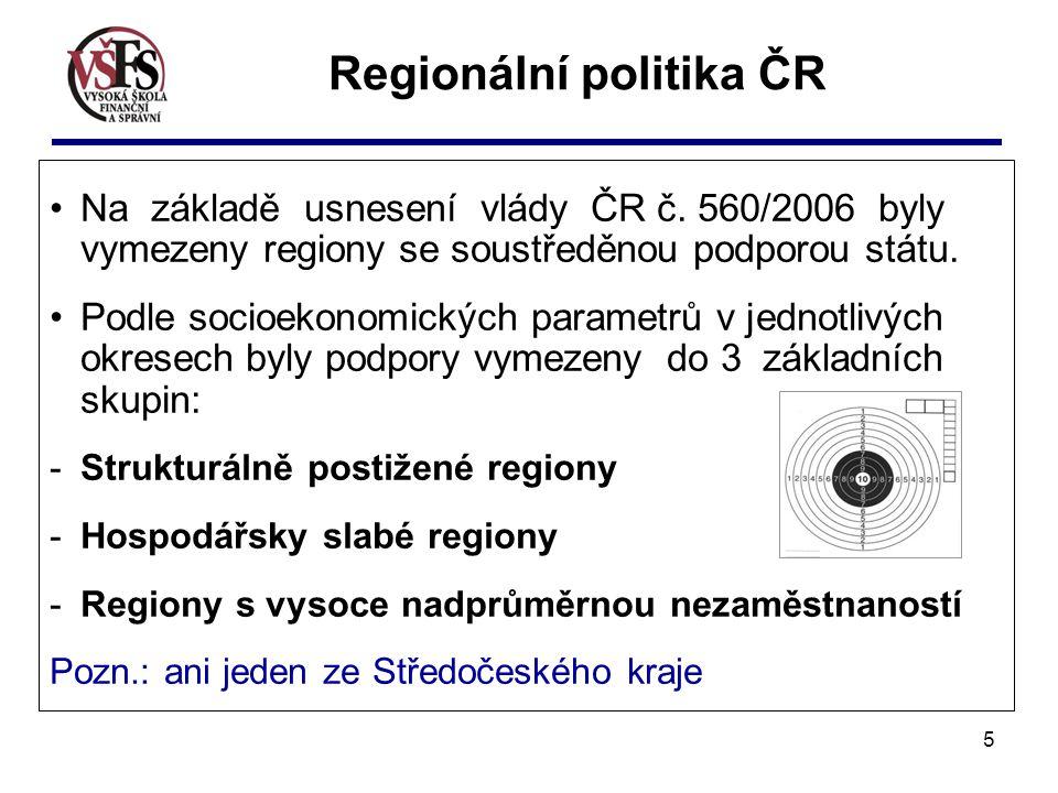 5 Na základě usnesení vlády ČR č. 560/2006 byly vymezeny regiony se soustředěnou podporou státu. Podle socioekonomických parametrů v jednotlivých okre