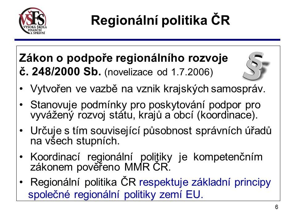 6 Zákon o podpoře regionálního rozvoje č. 248/2000 Sb. (novelizace od 1.7.2006) Vytvořen ve vazbě na vznik krajských samospráv. Stanovuje podmínky pro