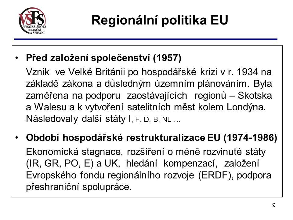 10 Regionální politika EU Období společenských změn v Evropě (1987-1999) Vytvoření jednotného vnitřního trhu, založení Výboru regionů (poradní orgán), zavedení strukturálních fondů a víceletých rozvojových programů a pomoci střed.