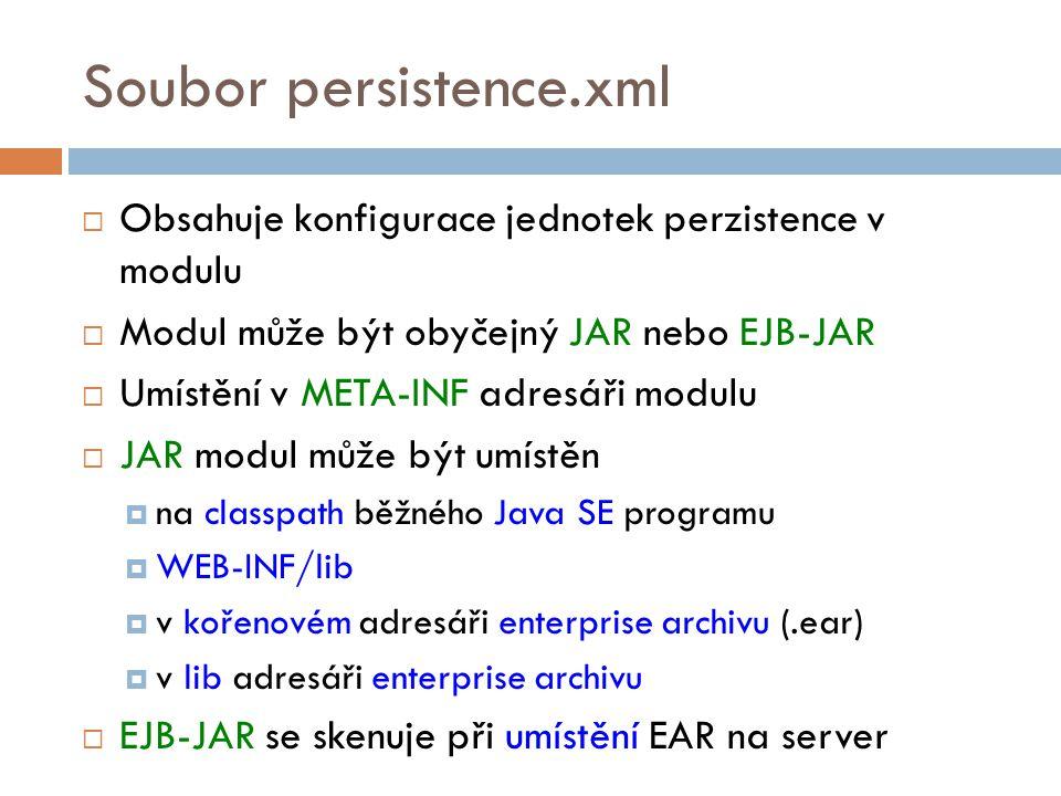 Soubor persistence.xml  Obsahuje konfigurace jednotek perzistence v modulu  Modul může být obyčejný JAR nebo EJB-JAR  Umístění v META-INF adresáři modulu  JAR modul může být umístěn  na classpath běžného Java SE programu  WEB-INF/lib  v kořenovém adresáři enterprise archivu (.ear)  v lib adresáři enterprise archivu  EJB-JAR se skenuje při umístění EAR na server