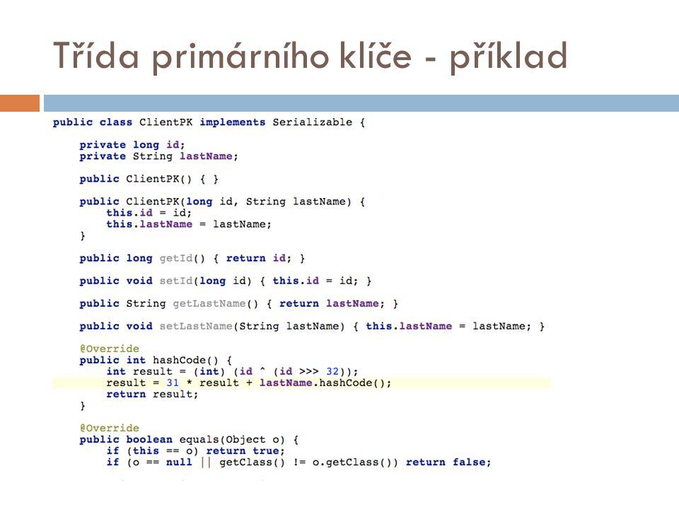 Třída primárního klíče - příklad