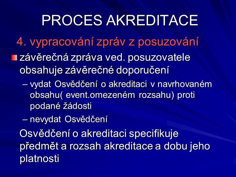 PROCES AKREDITACE 4. vypracování zpráv z posuzování 4.
