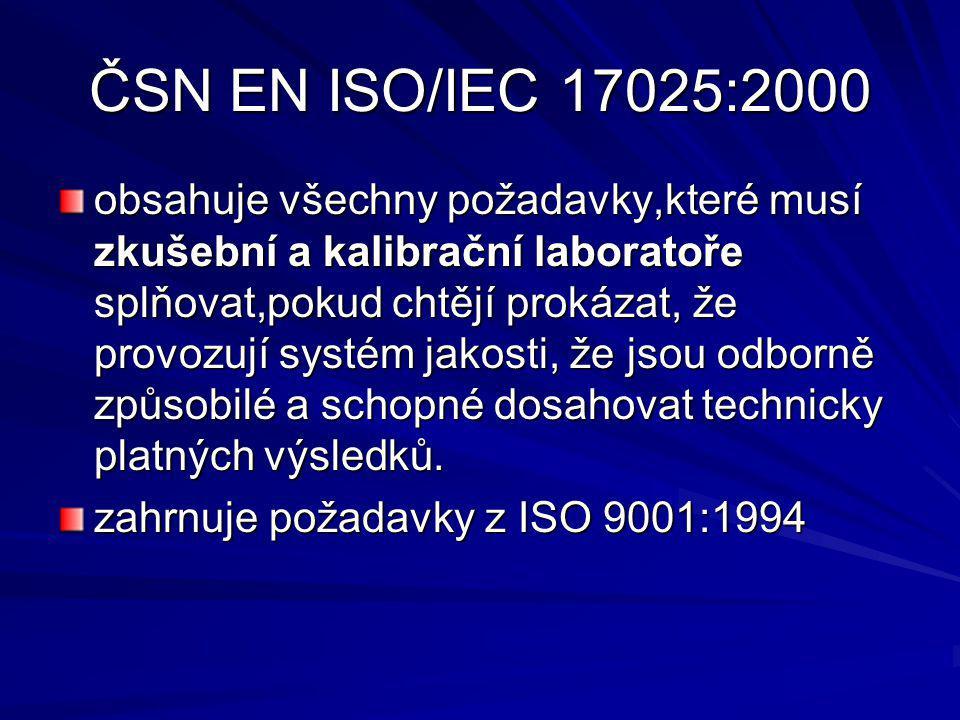 ČSN EN ISO/IEC 17025:2000 obsahuje všechny požadavky,které musí zkušební a kalibrační laboratoře splňovat,pokud chtějí prokázat, že provozují systém jakosti, že jsou odborně způsobilé a schopné dosahovat technicky platných výsledků.
