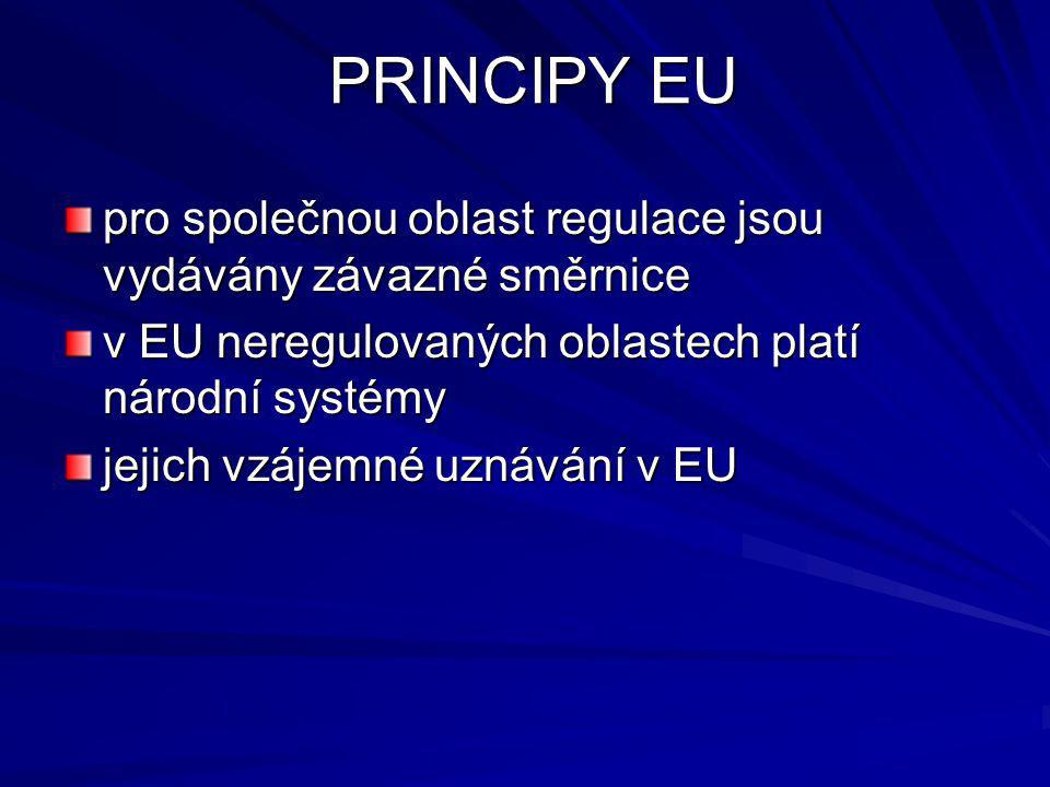 PRINCIPY EU pro společnou oblast regulace jsou vydávány závazné směrnice v EU neregulovaných oblastech platí národní systémy jejich vzájemné uznávání v EU