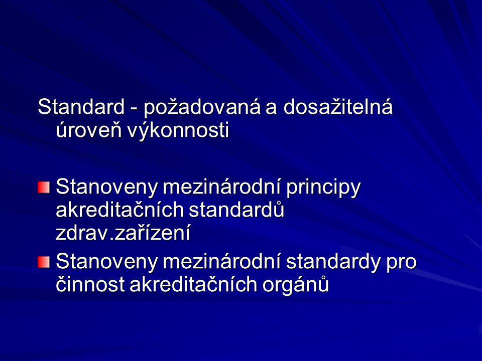 Standard - požadovaná a dosažitelná úroveň výkonnosti Stanoveny mezinárodní principy akreditačních standardů zdrav.zařízení Stanoveny mezinárodní standardy pro činnost akreditačních orgánů