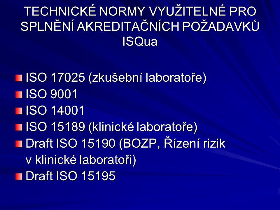 TECHNICKÉ NORMY VYUŽITELNÉ PRO SPLNĚNÍ AKREDITAČNÍCH POŽADAVKŮ ISQua ISO 17025 (zkušební laboratoře) ISO 9001 ISO 14001 ISO 15189 (klinické laboratoře) Draft ISO 15190 (BOZP, Řízení rizik v klinické laboratoři) Draft ISO 15195