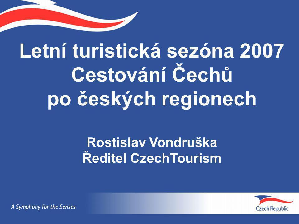 Letní turistická sezóna 2007 Cestování Čechů po českých regionech Rostislav Vondruška Ředitel CzechTourism