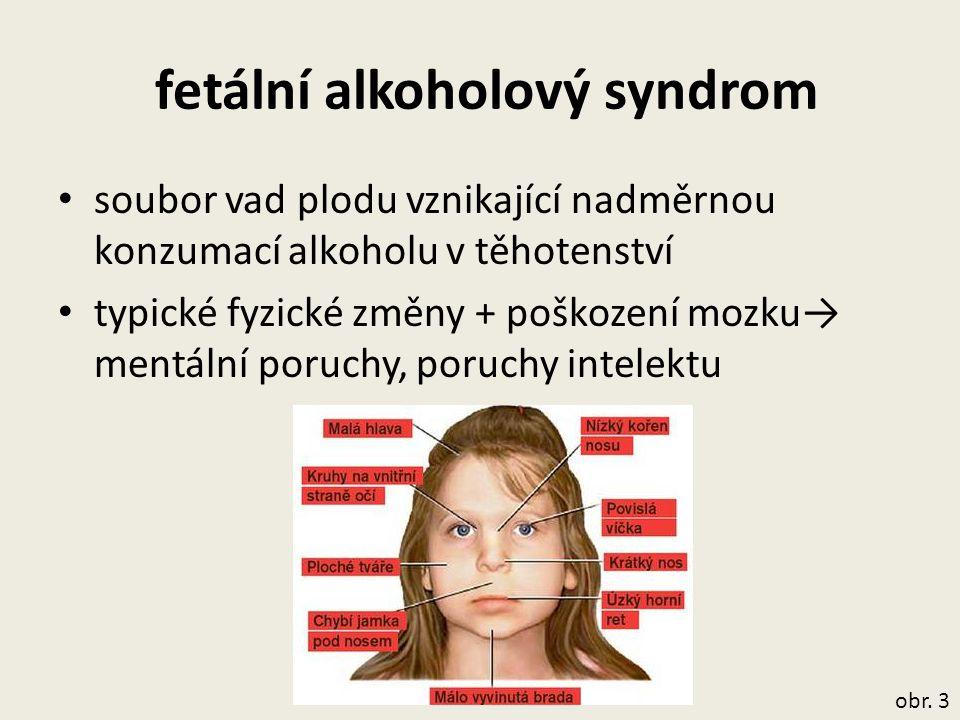 fetální alkoholový syndrom soubor vad plodu vznikající nadměrnou konzumací alkoholu v těhotenství typické fyzické změny + poškození mozku→ mentální po