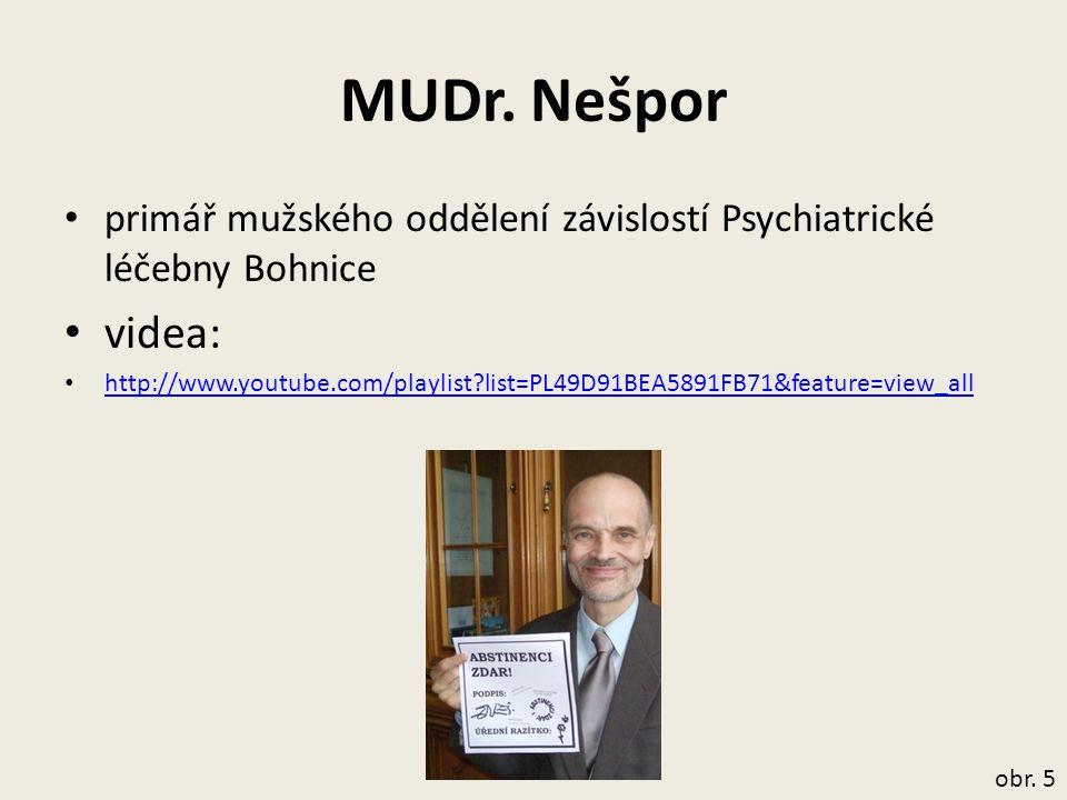 MUDr. Nešpor primář mužského oddělení závislostí Psychiatrické léčebny Bohnice videa: http://www.youtube.com/playlist?list=PL49D91BEA5891FB71&feature=