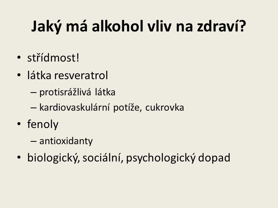Jaký má alkohol vliv na zdraví? střídmost! látka resveratrol – protisrážlivá látka – kardiovaskulární potíže, cukrovka fenoly – antioxidanty biologick