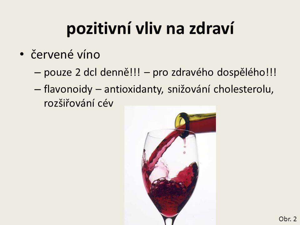 pozitivní vliv na zdraví červené víno – pouze 2 dcl denně!!! – pro zdravého dospělého!!! – flavonoidy – antioxidanty, snižování cholesterolu, rozšiřov