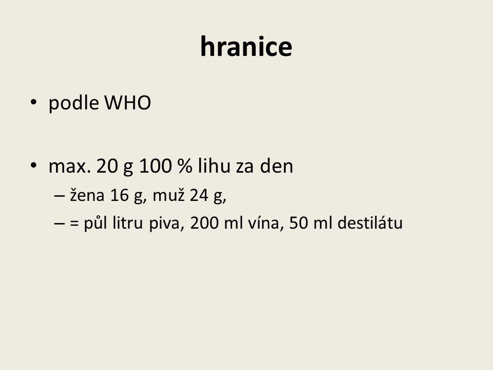 hranice podle WHO max. 20 g 100 % lihu za den – žena 16 g, muž 24 g, – = půl litru piva, 200 ml vína, 50 ml destilátu