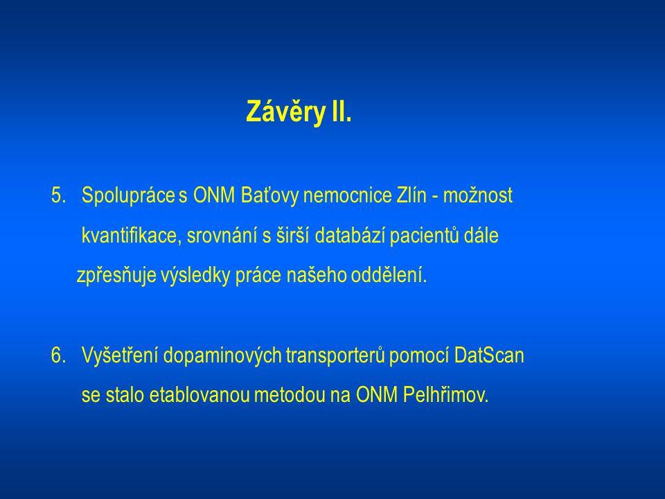 Závěry II. 5. Spolupráce s ONM Baťovy nemocnice Zlín - možnost kvantifikace, srovnání s širší databází pacientů dále zpřesňuje výsledky práce našeho o