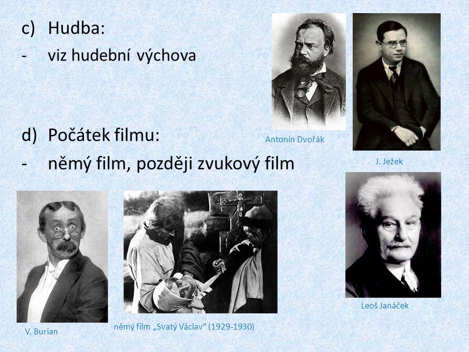 """c)Hudba: -v-viz hudební výchova d)Počátek filmu: -n-němý film, později zvukový film J. Ježek Antonín Dvořák Leoš Janáček V. Burian němý film """"Svatý Vá"""