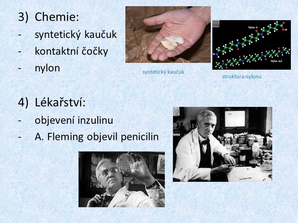3)Chemie: -s-syntetický kaučuk -k-kontaktní čočky -n-nylon 4)Lékařství: -o-objevení inzulinu -A-A. Fleming objevil penicilin syntetický kaučuk struktu