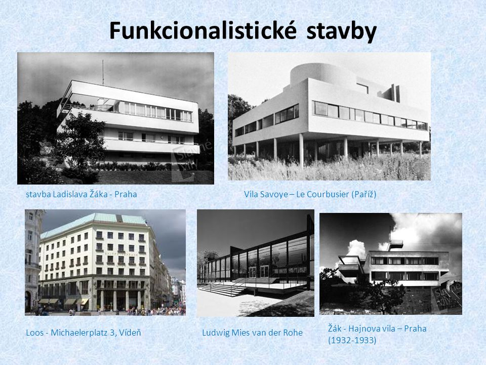 Funkcionalistické stavby stavba Ladislava Žáka - PrahaVila Savoye – Le Courbusier (Paříž) Loos - Michaelerplatz 3, VídeňLudwig Mies van der Rohe Žák -