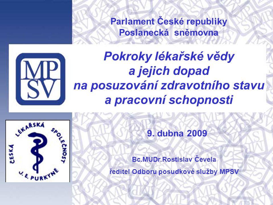 1 Parlament České republiky Poslanecká sněmovna Pokroky lékařské vědy a jejich dopad na posuzování zdravotního stavu a pracovní schopnosti Bc.MUDr.Rostislav Čevela ředitel Odboru posudkové služby MPSV 9.