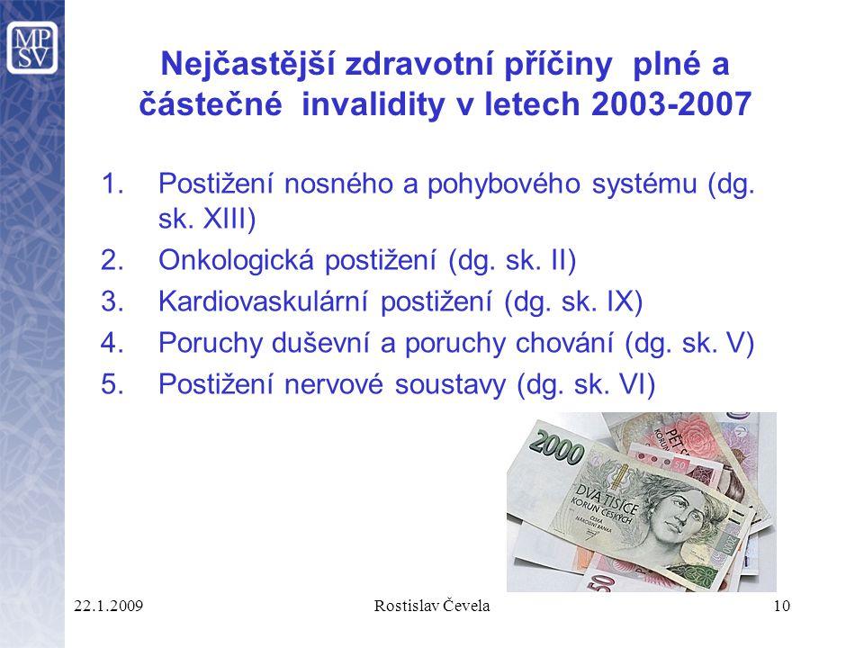 22.1.2009Rostislav Čevela10 Nejčastější zdravotní příčiny plné a částečné invalidity v letech 2003-2007 1.Postižení nosného a pohybového systému (dg.